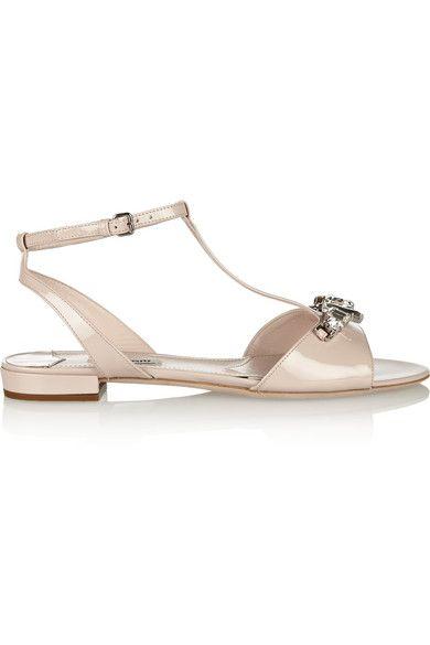Miu Miu                               Crystal-embellished patent-leather sandals