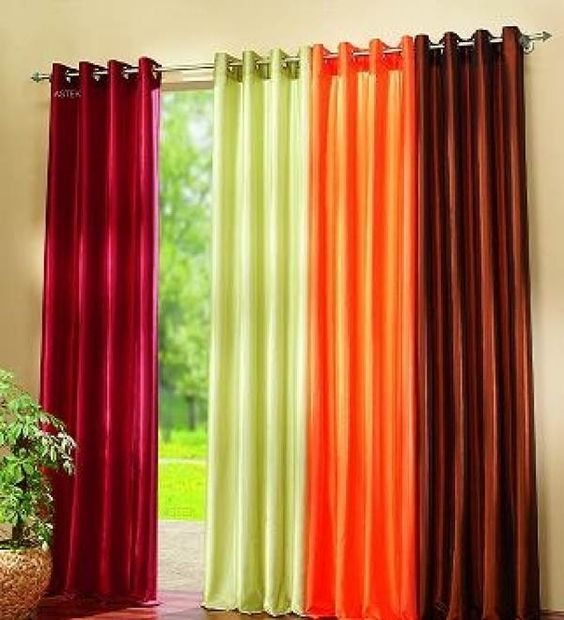 Colorful Curtain For Living Room Available In Maroon Green And Orange Colors Color My World