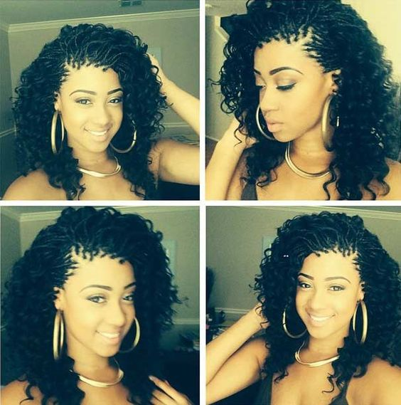 Curly Micro Braids Hairstyle