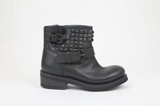 ASH Italia Tramp Leather Boot Destroyer Black 13203163 Womens Sz US6 NEW UNWORN #ASHItalia #Tramp