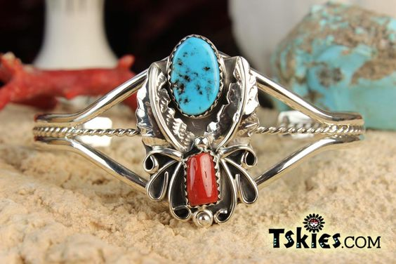 https://tskies.com Turquoise Coral Appilique Bracelet by Harry B Yazzie - Turquoise Skies