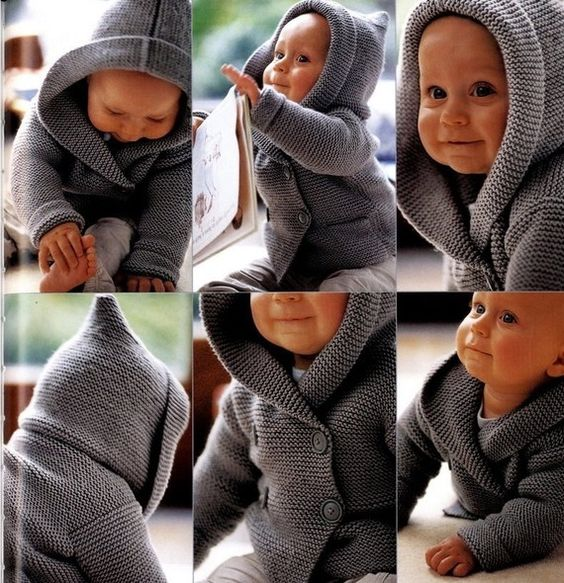 Hand Knit-Duffel Coat for Baby- Light Grey - Pure Wool or Cotton- Sizes untill 4 years