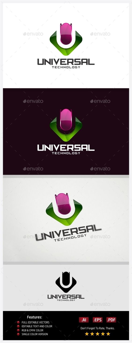 Universal Technology  Logo Design Template Vector #logotype Download it here: http://graphicriver.net/item/universal-technology-logo/10431046?s_rank=1457?ref=nexion