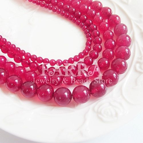 Size mixed round wine red agate beads violet red  by FARRAgem
