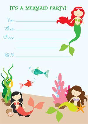 Mermaid party invitation free printable birthday theme pinterest birthdays mermaid for Mermaid templates printable