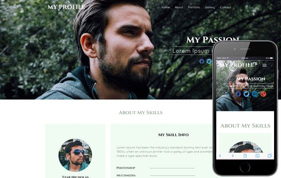 My Profile a Personal Portfolio category bootstrap Responsive Web - free profile templates
