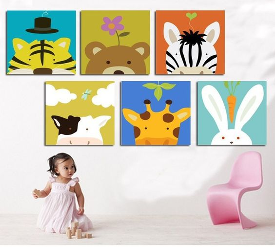 Livraison gratuite 6 Pcs/ensemble de bande dessinée animaux toile peintures imprimé sur toile pour chambre d'enfant mur décor à la maison peinture No cadre