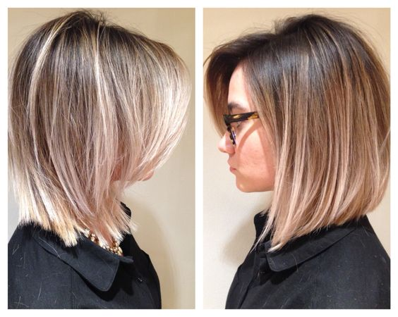Ombré hair balayage hair painting long bob blonde By Natalie Ruzgis at RED 7 SALON CHICAGO