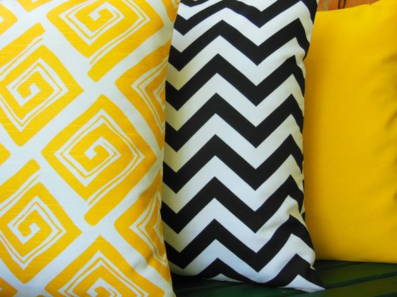 Yellow Black Throw Pillows Decorative Cushion Covers for Couch Sofa Black White Chevron 18 Inch Set of Three Bed Nursery Pillows Accent by SeamsToMe23 on Etsy https://www.etsy.com/listing/158257091/yellow-black-throw-pillows-decorative