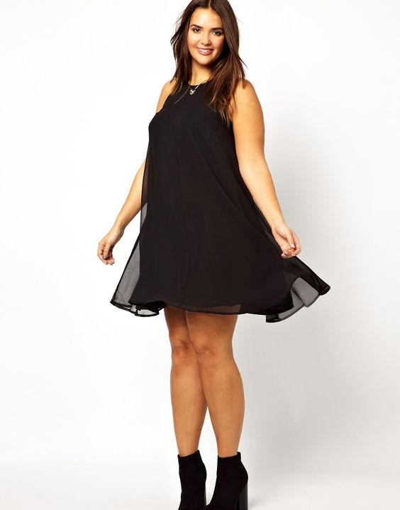 ASOS CURVE - Swing Dress With Zip Back