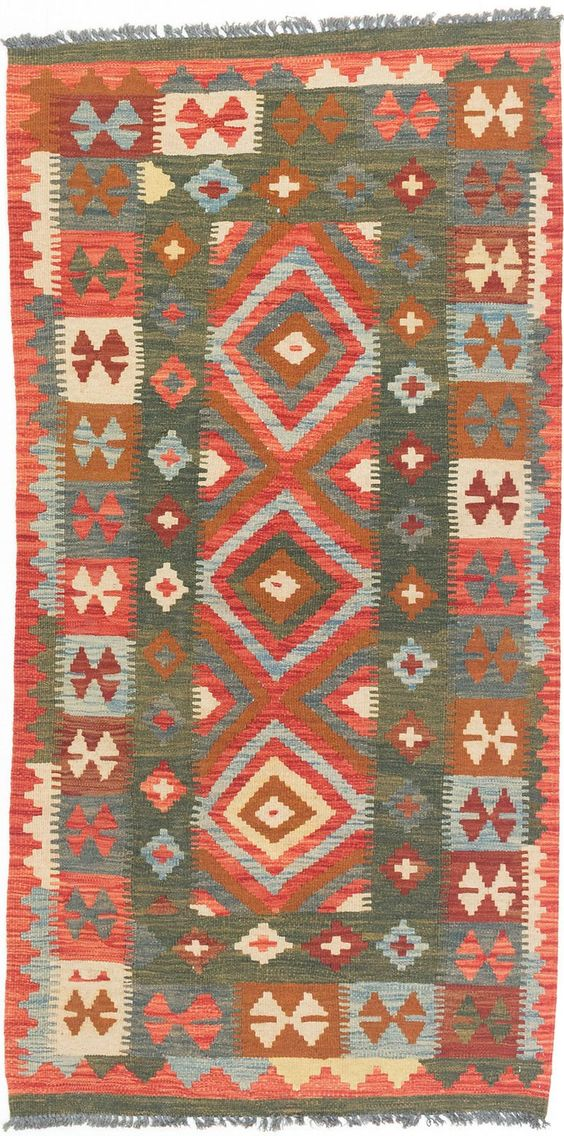 """Hand Woven Carpet 3'1"""" X 6'4"""" Anatolian Kilim Wool Kilim. Material:100% Wool. Foundation material:100% Wool. Size: 3'1"""" x 6'4"""" , 94cm x 194cm. Special Non-slip Design On The Bottom, Preventing Dislocation, Non-slip. Suitable For Bedroom, Den, Living Room, Dining Area etc."""