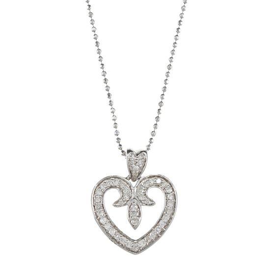 Victoria Kay Sterling Silver Diamond Fleur de Lis Heart Necklace
