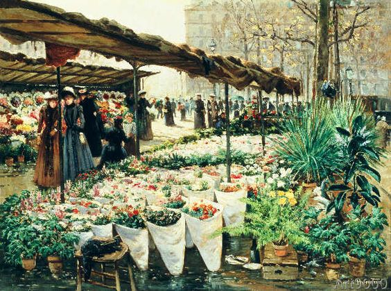 Theodor von Hörmann - Marché aux Fleurs à La Madeleine