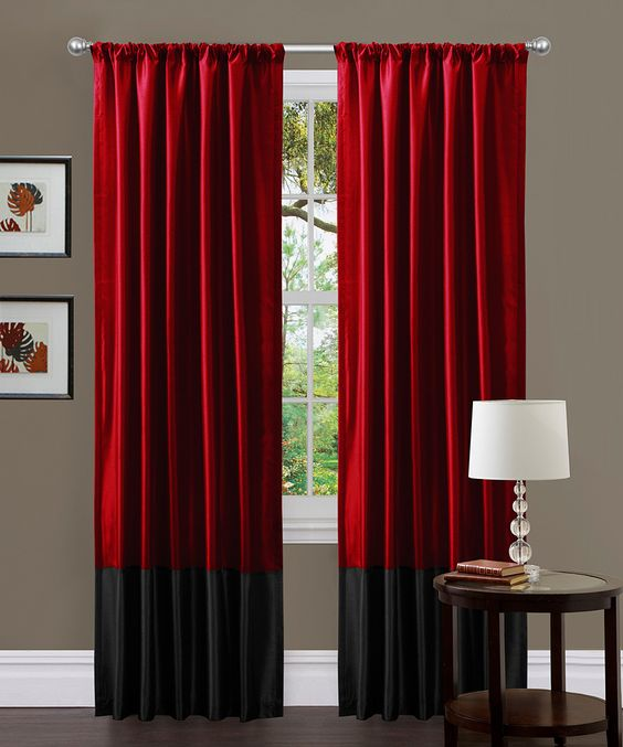 Black & Red Milione Fiori Curtain Panel - Set of Two | Curtain ...