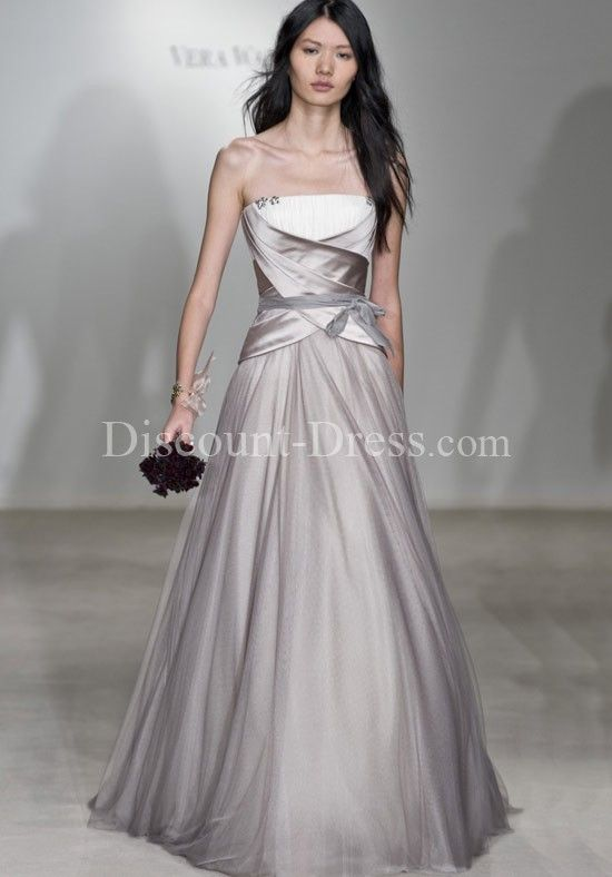 A line strapless floor length duchesse tissue organza for French style wedding dresses