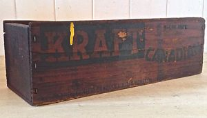 Antiquité Collection Très ancienne boîte à fromage KRAFT en bois Lévis…