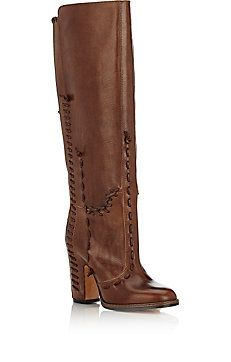 Whipstitched Leather Knee Boots