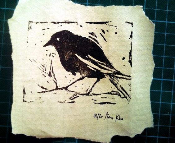 I have been working on my own lino cuts lately.  This one inspires me.  -(Not said by SK).