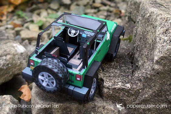 Jeep JK Rubicon Open Top paper model   papercruiser.com