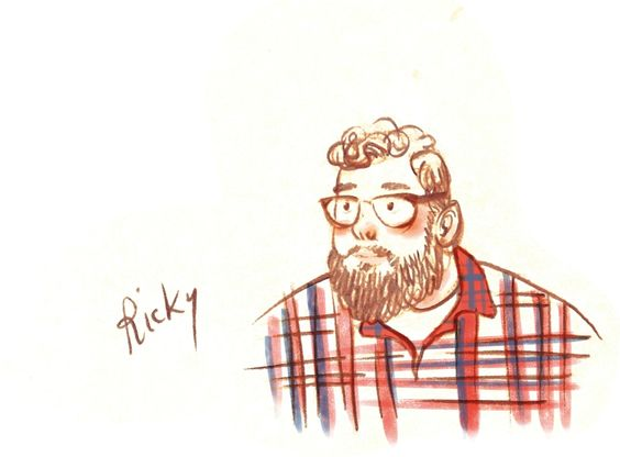 Here's a sketch of my friend Ricky. I did this one this past weekend, in Port Hope, while we were all discussing some topic I can't remember anymore, during breakfast. I love his big thick beard!