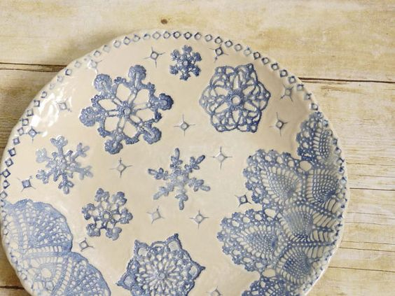 Ceramic Snowflake Bowl with Lace Doily Beautiful  Handcrafted Pottery Serving Dish Antique Lace Design