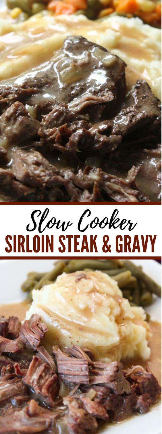 Slow Cooker Sirloin Steak and Gravy #dinner #comfortfood