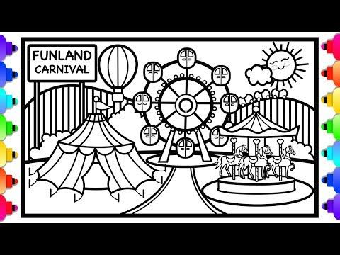 How To Draw A Carnival Amusement Park Coloring Page Youtube In 2020 Coloring Pages Kids Artwork Drawings