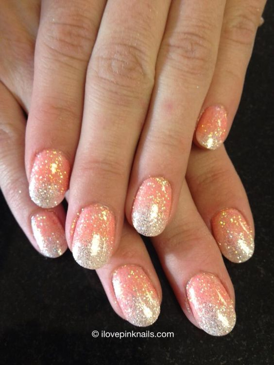 Orange and White Ombre Rock Star Nails