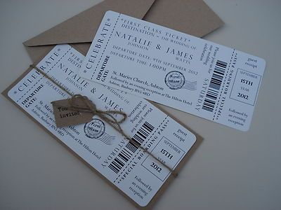 Details About 1 Vintage Shabby Chic Style Ticket Wedding Invitation Stationer