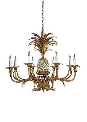 "PINEAPPLE CHANDELIER, FLORENTINE IRON ART, EIGHT LIGHTS, HEIGHT 26"" WIDTH 31"""