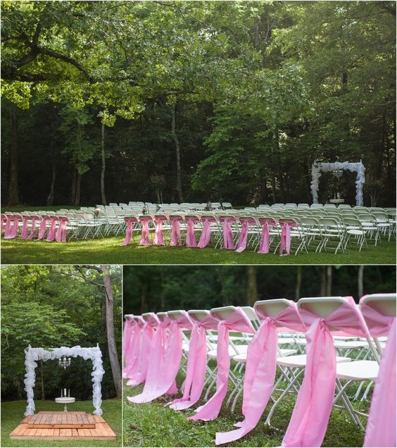 Wedding Altar Music: Pink Outdoor Wedding Ceremony With Chandelier Alter. Click