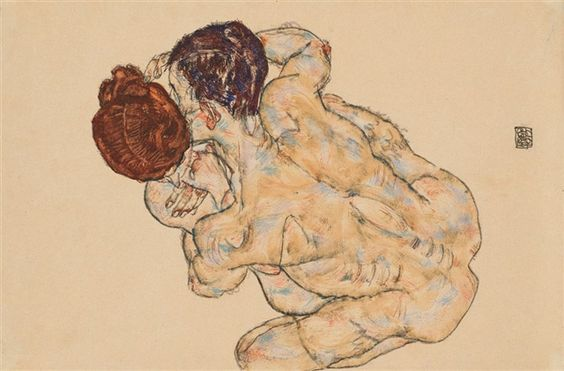 Egon Schiele, Mann und Frau (Umarmung), 1917