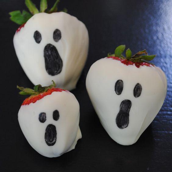 Halloween fresas con chocolate blanco