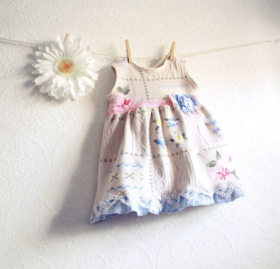 Shabby Chic Girl's Dress 18 Months Baby Clothes Pink Floral Jumper ...