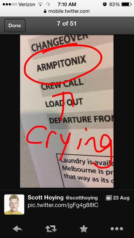 Scott Hoying tweet- lol armpitonix! I'm dying