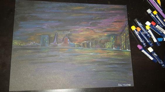 Sleeping city Pastels on Black A4