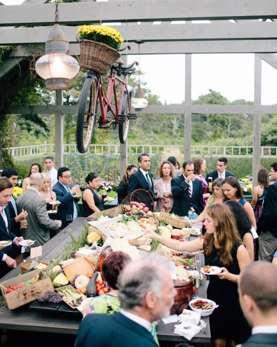 Swap cities - After moving her wedding from Brooklyn, New York (her current home), to a beach town in Michigan (her native state), bride-to-be Vicky Sherman watched catering quotes drop from $140 per head to $40—a savings of $15,000, based on her 150-person guest list.