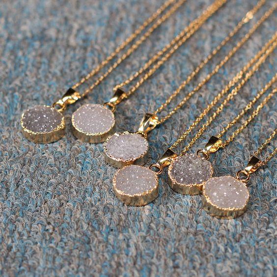 Round Agate Druzy Necklace Handmade Drusy Geode Necklace wedding party birthday jewelry DJ-1: