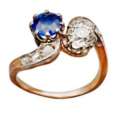 French Diamond and Sapphire Ring, circa 1890