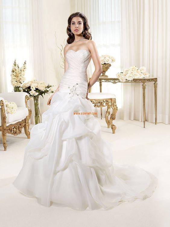 Robe de mariée 2014 sirène organza au drapée col en coeur