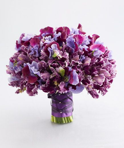 Parrot Tulips and Sweet Pea  Japanese variegated sweet pea and mystery purple parrot tulips form a one-of-a-kind bouquet that's substantial and sophisticated.