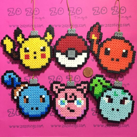 Pokemon Christmas bauble set Hama perler beads by Zo Zo Tings