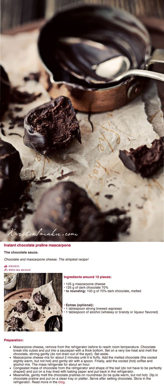 Chocolate Pralines with mascarpone | All Things Chocolate | Pinterest ...