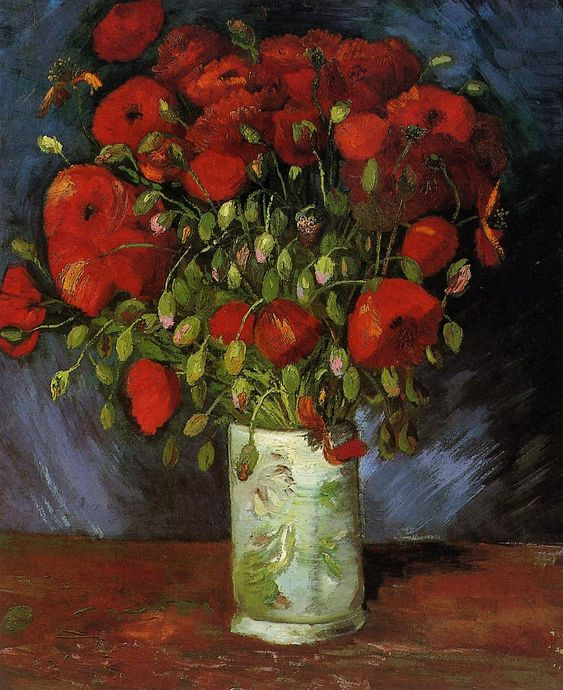 Vase with Red Poppies , 1886 , by Vincent van Gogh