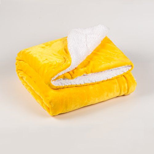Horom Sherpa Throw Blanket Yellow 60 X80 Microfiber Reversible Bed Throws Luxury Soft Cozy Fluffy Wa Yellow Bedding Yellow Throw Blanket Sherpa Throw Blankets