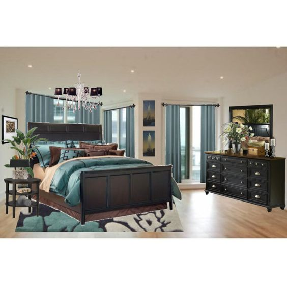 Teal and brown bedroom via polyvore created by for Chocolate and teal bedroom ideas
