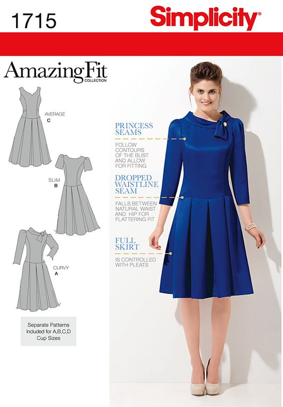 Simplicity 1715 - To try because it's a fit and flare dress and because it has a dropped waist.