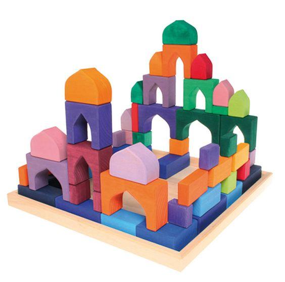 Grimms Bauklötze 4 x 4 Bauelemente Baukasten Waldorf Montessori Holzbauklötze in Spielzeug, Holzspielzeug, Bauklötze   eBay