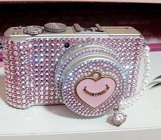 Cámara con brillos en rosa ♥ Camera bling