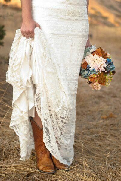 Vintage style autumn wedding inspiration wedding lace for Western wedding dresses with boots